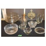 Glass lot-bowls/candy dishes/pitcher/