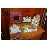 Assorted wood lot- signs/ mirror/ train station-