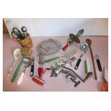 Assorted kitchen utensils- some vintage