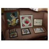 Lot of assorted framed embroidered &