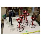Assortment of candle holders with candles