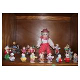 Contents of shelf-lot of clown collectibles