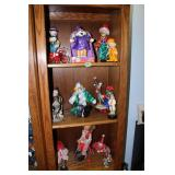 Contents of shelves-lot of clown collectibles