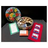 Sewing Notion Lot in Vintage Tin and Wall Hanging