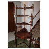 Wood 4 shelf corner unit