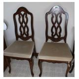2 Wood and upholstered ining room chairs