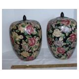 2 glass decorative urns with lids