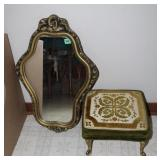 Small foot stool with metal legs/plastic framed