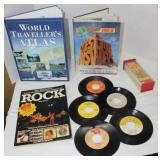 misc lot - ROCK book, records, question and