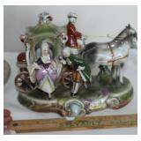 Porcelain horse and carriage figurine