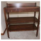 Wood server on casters with drawer and 2 shelves
