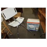 Shower chair/raised toilet seat/cane