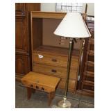 Small wood bench-23x12x17 tall/floor lamp 59 tall