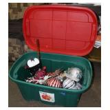 Truley storage tote full of Christmas ornaments/