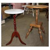 2 small tables-wood with marble top-11 diameter x