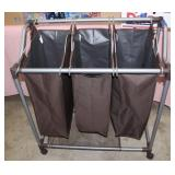 Laundry trolley with 3 hanging laundry bags