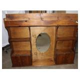 Wood headboard with 2 small doors/