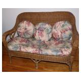Wicker love seat with cushions-only used indoors