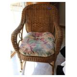Wicker rocker with cushions-only used indoors