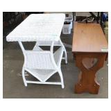 White wicker magazine rack/small wood side table