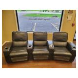 COUCH, THREE SECTION RECLINER, IMITATION LEATHER