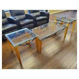 "COFFEE TABLE, GLASS, 50""X27""X18""., W/ END TABLE,"
