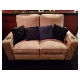 LOVE SEAT, SUEDE, RECLINING, STAINED