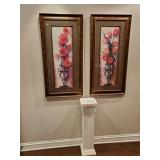 "GROUP OF (2) PAINTINGS, 48""X24"", AND PEDESTAL,"