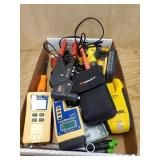 LOT OF CHALK LINE MARKERS, CABLE TESTERS,