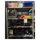 Metal Shelve with Miscellaneous Items.