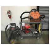 Shop Vacuums W/Cart & Misc. Items