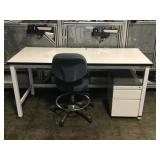 Lab Desk With Filing Cabinet and Chair