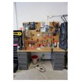 Two drawers  with table and back splash tools and
