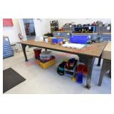 Custom-made steel work table