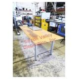 Wood Top Table with Metal Frame