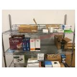Metal Shelving Rack with Miscellaneous Contents