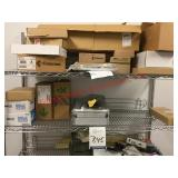 Metal Shelving Rack with Contents