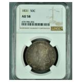 1831 50C AU 58 NGC US SILVER HALF DOLLAR COIN