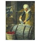 WATERCOLOR SIGNED MALADY - MAKING CIDER