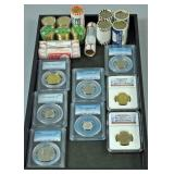 ROLLS & GRADED SLABS OF UNCIRCULATED COINS