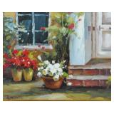 CONTEMPORARY OIL ON CANVAS FLOWER POTS PAINTING