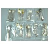 GROUP OF SILVER SPOONS, MOSTLY SETS