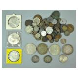 (85+) FOREIGN COINS GROUP INCLUDING SILVER
