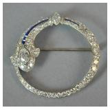 ART DECO PLATINUM, DIAMOND & SAPPHIRE CIRCLE PIN