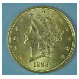 1893 US GOLD DOUBLE EAGLE $20 COIN