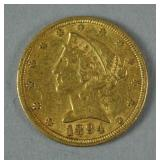 1894 US GOLD CORONET HEAD HALF EAGLE $5 COIN