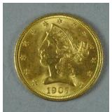 1907 US GOLD CORONET HEAD HALF EAGLE $5 COIN