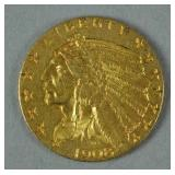 1908 US GOLD INDIAN HEAD HALF EAGLE $5 COIN