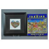 CHARLES FAZZINO 3-D SERIGRAPH & SIGNED BOOK