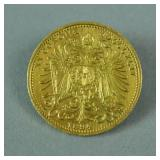 1894 (AS-IS) AUSTRIAN 20 CORONA GOLD COIN PIN